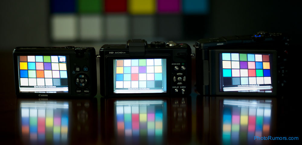 Canon on the left, Panasonic in the middle, Samsung on the right