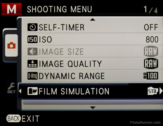 Fuji X100 menu