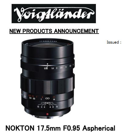 Voigtlander Nokton 17.5mm f/0.95 Aspherical lens for Micro Four Thirds
