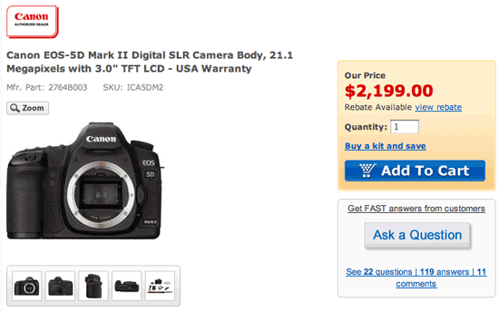 Canon 5d mark ii price drop photo rumors for Canon 5d mark ii price