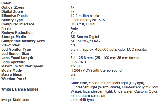 Fuji XF1 specifications