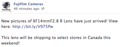 Fuji XF14mm f2.8 lens shipping