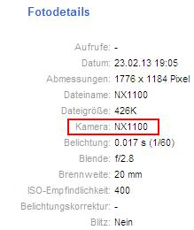 Samsung NX1100 EXIF data