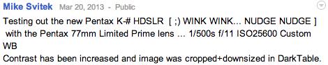 Pentax ful frame DSLR camera