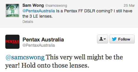 Pentax full frame DSLR camera rumors