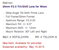 Rokinon T-S 24mm f:3.5 ED AS UMC tilt-shift lens