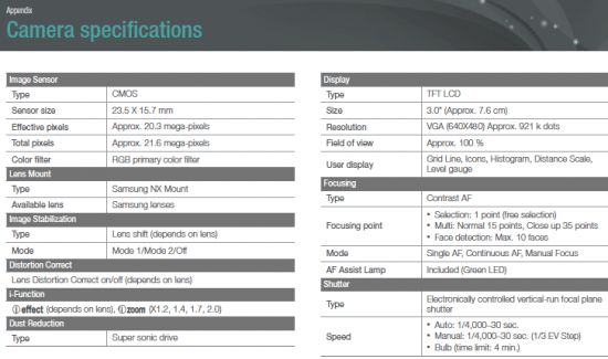 Samsnung-NX1100-camera-specifications