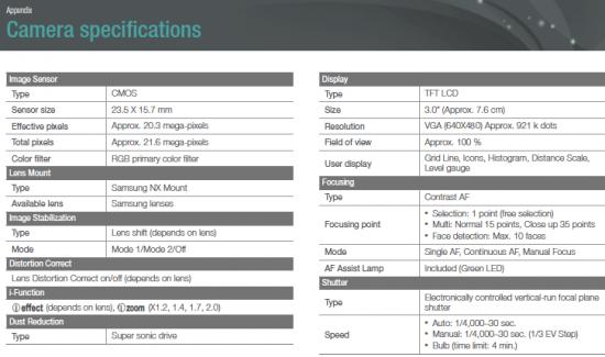 Samsnung-NX1100-camera-specifications