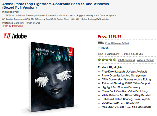 Deal of the day: buy Adobe Photoshop Lightroom 4, get over ...