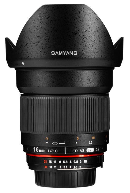 Samyang 16 mm f:2 lens