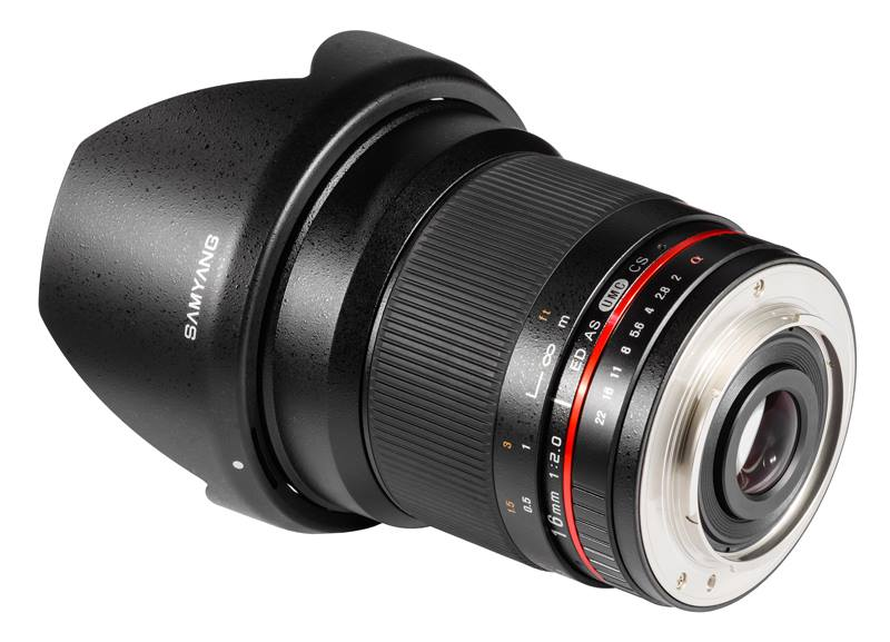 Samyang 16 mm f2 wide angle lens