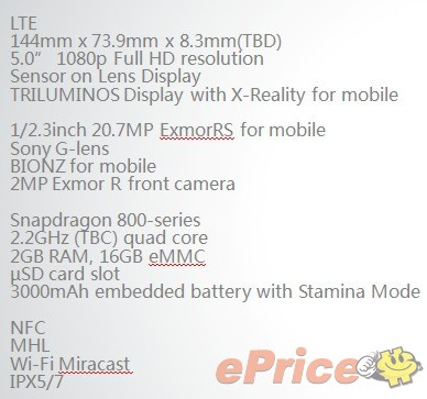 20MP Sony Xperia smart phone with 20MP camera sensor.