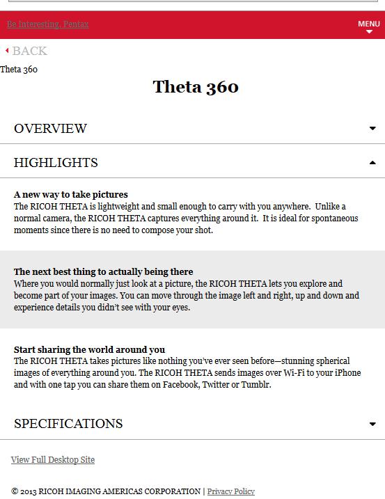 Pentax Theta 360 camera