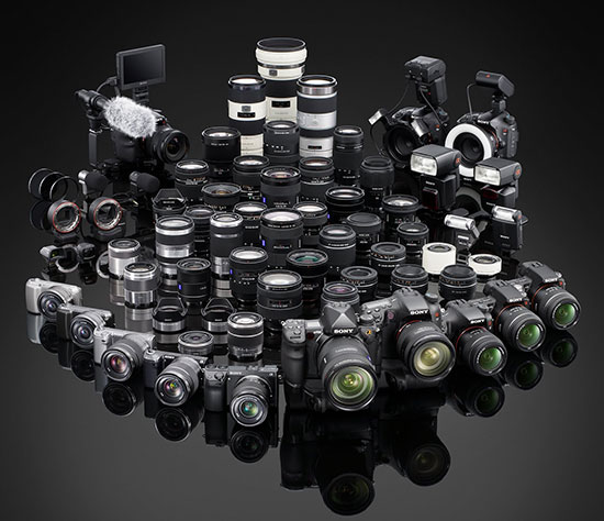 Sony-NEX-Alpha-camera-and-lenses