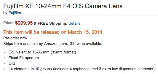 Fujifilm XF 10-24mm f:4 OIS lens shipping date