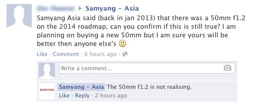 Samyang 50mm f:1.2 lens
