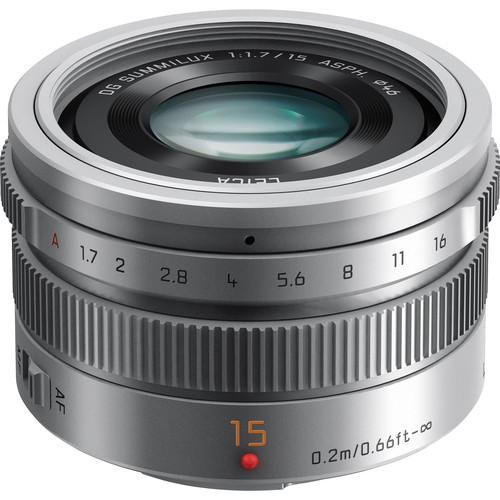 Panasonic Leica DG Summilux 15mm f:1.7 lens silver