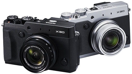 Fuji-X30-compact-camera-in-silver-and-black