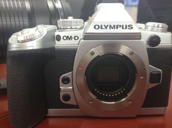 Silver Olympus E-M1 camera