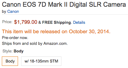 Canon EOS 7D Mark II camera shipping date