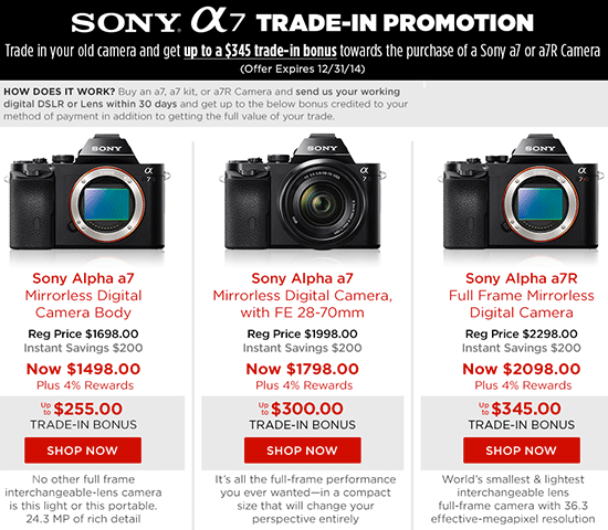 New Sony a7 series trade-in program launched - Photo Rumors