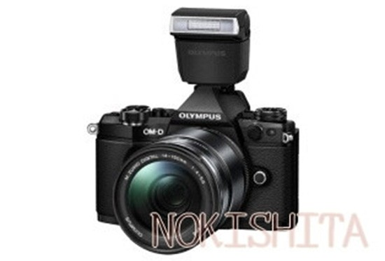 Olympus-E-M5II-camera-with-FL-LM3-flash