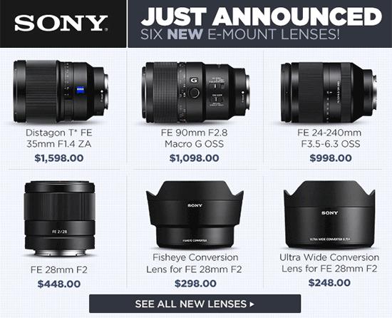 Sony-SEL35F14Z-SEL90M28G-SEL24240-SEL28F20