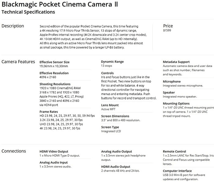 Blackmagic Pocket Cinema Camera Ii Leaked Online Photo Rumors