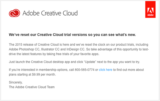 Adobe resets their Creative Cloud trial so you can try it