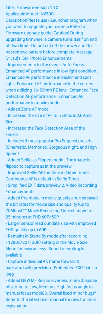 Firmware-update-v1.1-for-the-Samsung-NX500-mirrorless-camera