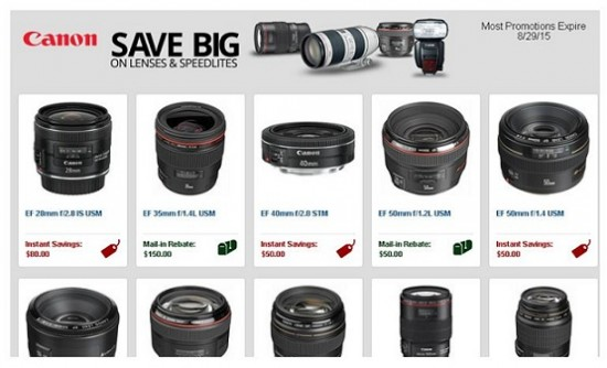 Canon lens Speedlites savings