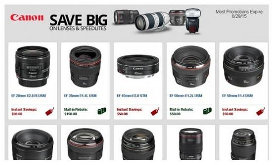 Canon lens Speedlites savings