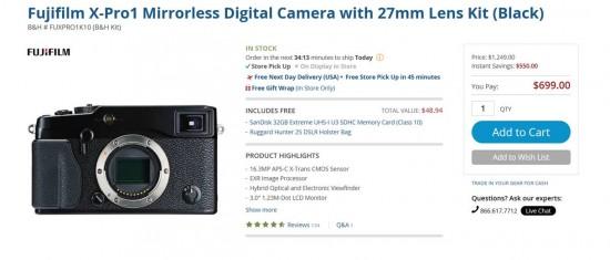 Fuji X-Pro1 camera on sale before the X-Pro2 announcement