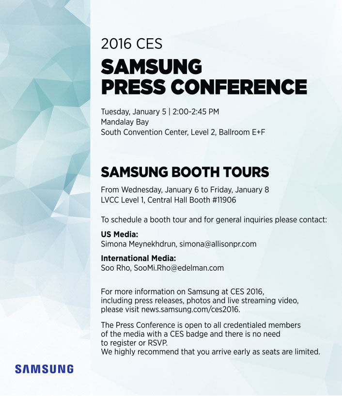 Samsung CES 2016 press conference on January 5th