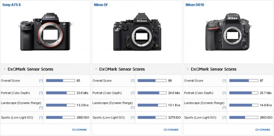 Sony A7S II vs Nikon Df vs Nikon D810 comparison