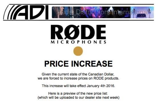Camera-equipment-Canada-price-increase