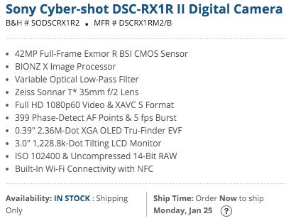 Sony Cybershot RX1R II compact full frame camera in stock