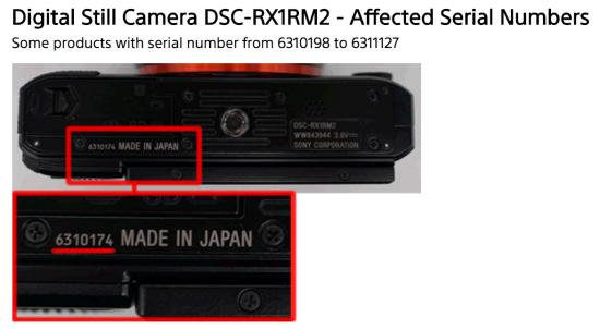Sony RX1R II camera advisory