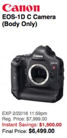 Canon EOS-1D C Camera deal