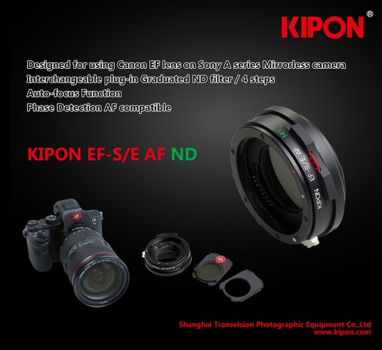 Kipon-auto-focus-adapter-with-interchangeable-graduated-ND-filter