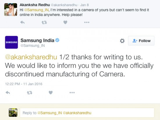 Samsung discontinued manufacturing of cameras