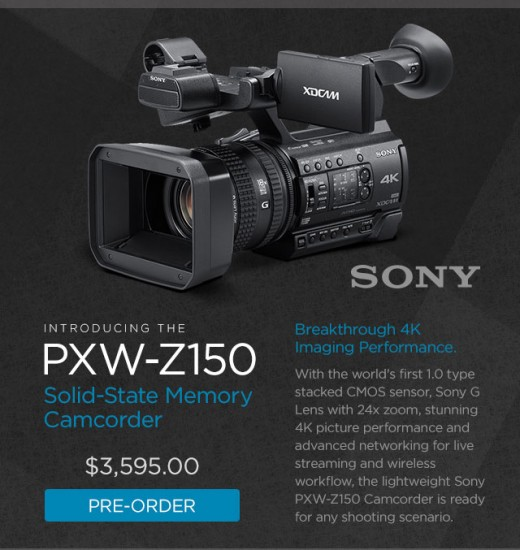 Sony PXW-Z150 4K Solid-State Memory Camcorder