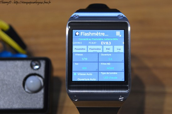light-meter running on Galaxy smart watch