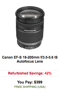 Canon EF-S 18-200mm f:3.5-5.6 IS Autofocus Lens sale