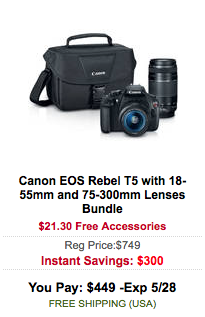 Canon EOS Rebel T5 camera deal