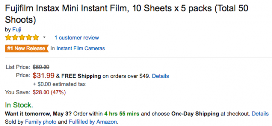 Fuji Instax Mini Instant Film deal