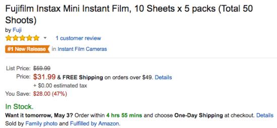 Fuji Instax Mini Instant Film deal