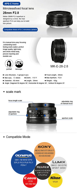 Meike-28mm-f2.8-lens
