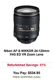 Nikon AF-S NIKKOR 24-120mm f:4G ED VR Zoom Lens sale