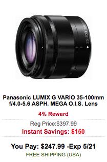 Panasonic LUMIX G VARIO 35-100mm f:4.0-5.6 ASPH. MEGA O.I.S. Lens sale